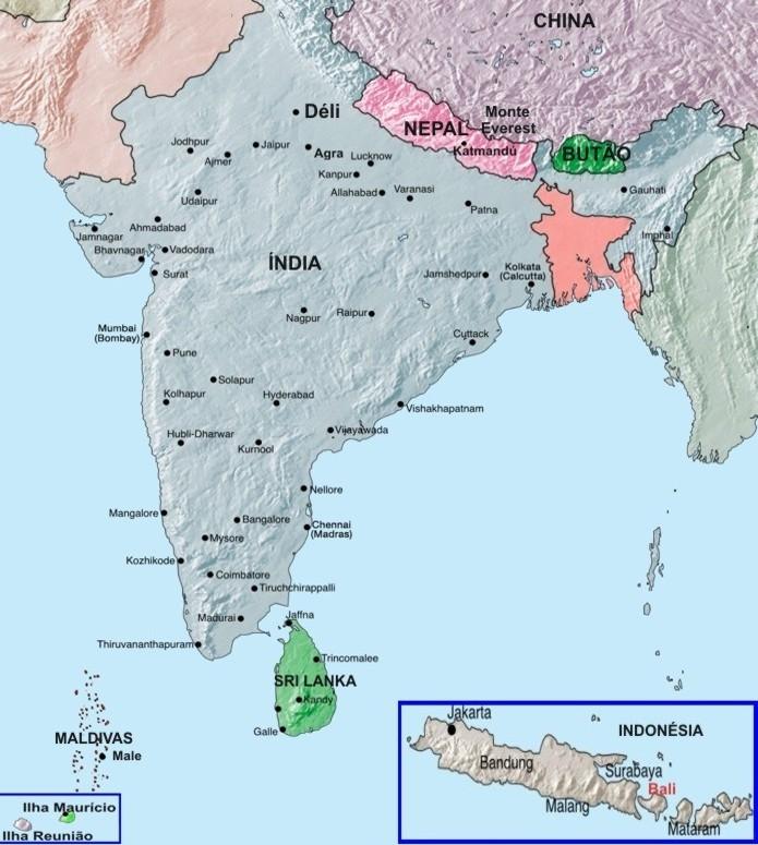 Mapa da Índia e Sri Lanka