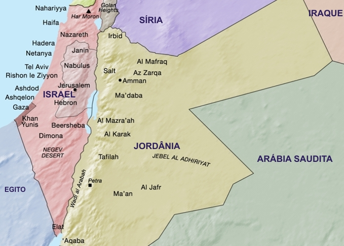 Mapa Israel e Jordânia