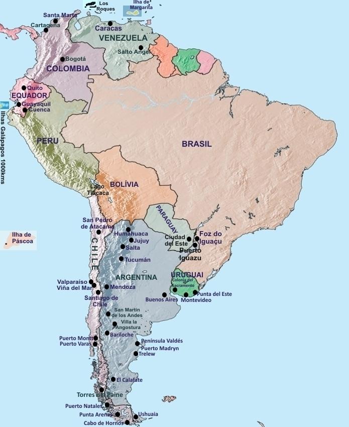 mapa mundi equador Mapa América do Sul, Venezuela, Argentina, Chile, Equador, Uruguai  mapa mundi equador