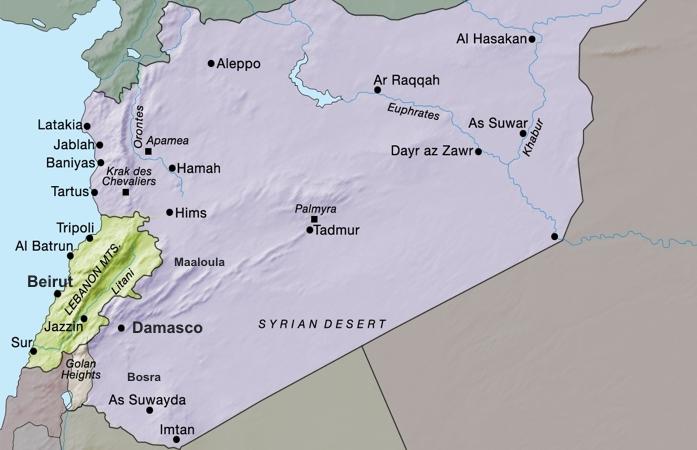 Mapa da Síria e Líbano