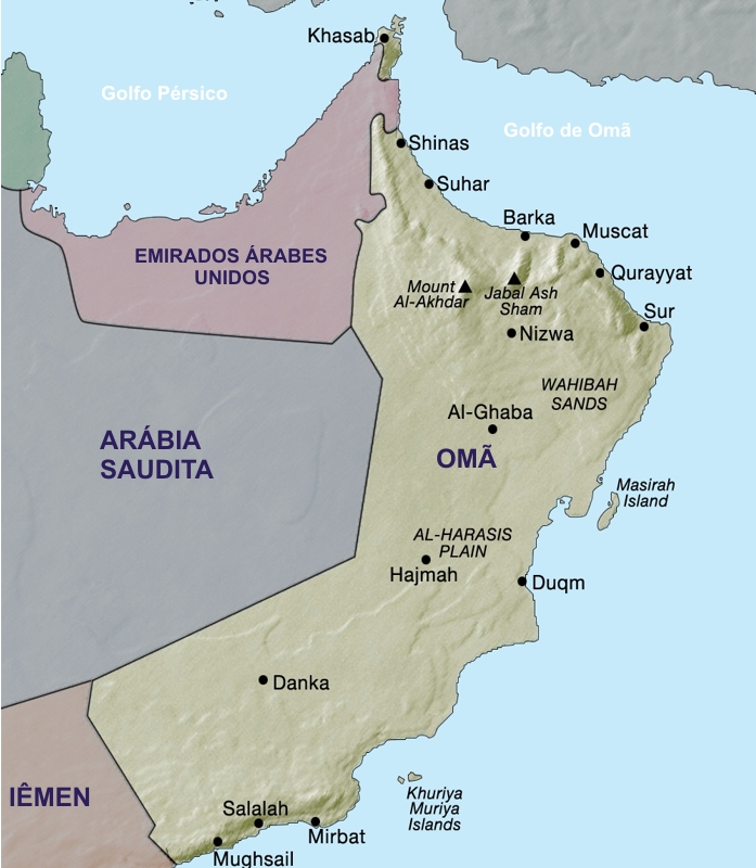 Mapa do Omã