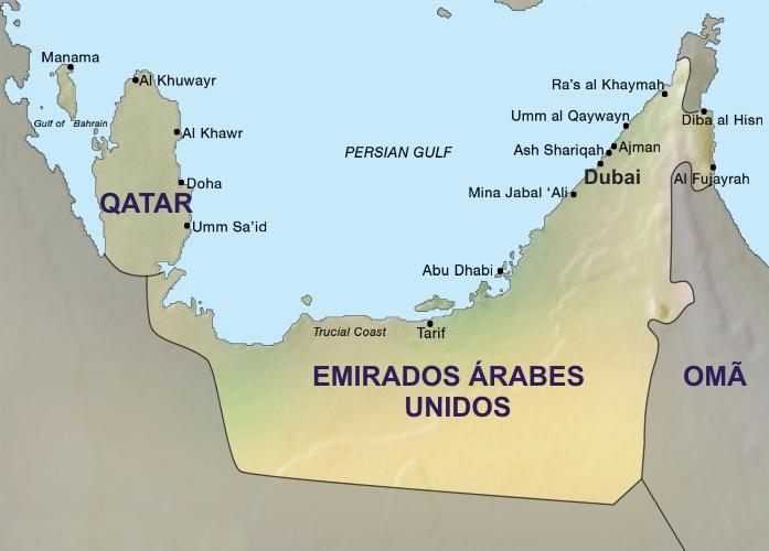 Mapa Emirados Árabes e Qatar