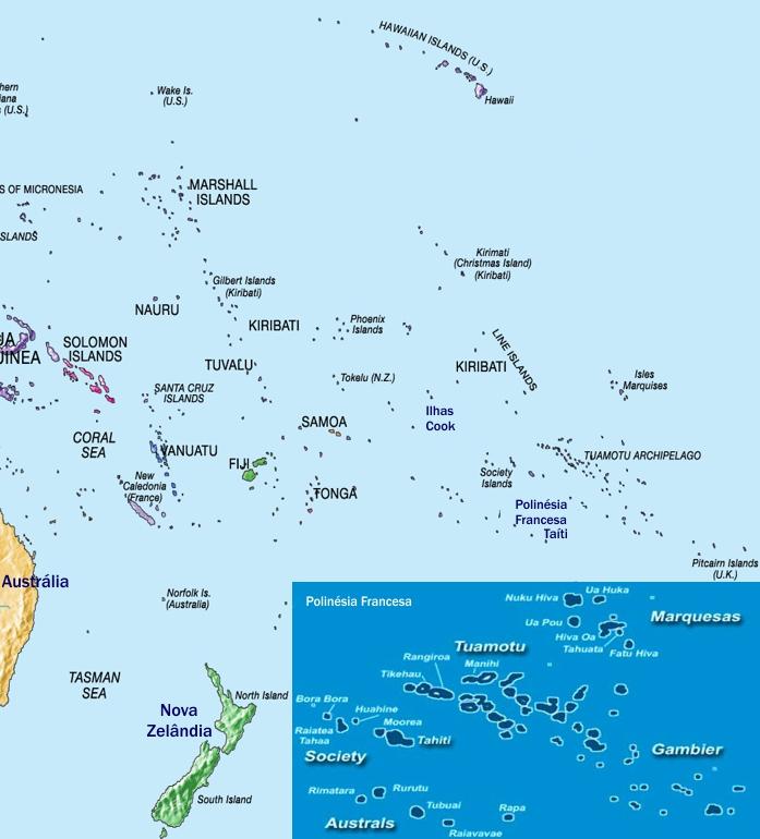 Mapa das Ilhas do Pacífico