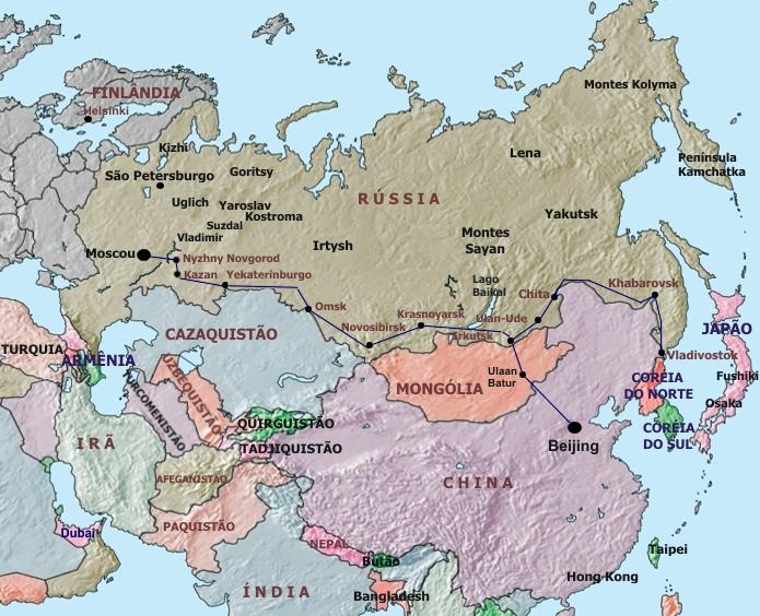 Mapa - Rússia e Ásia
