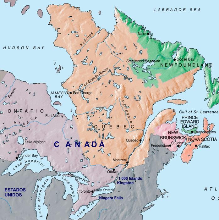 Mapa Leste do Canadá
