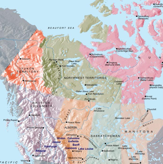 Mapa Oeste do Canadá