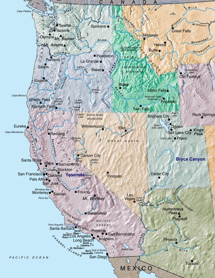 Mapa Oeste dos EUA