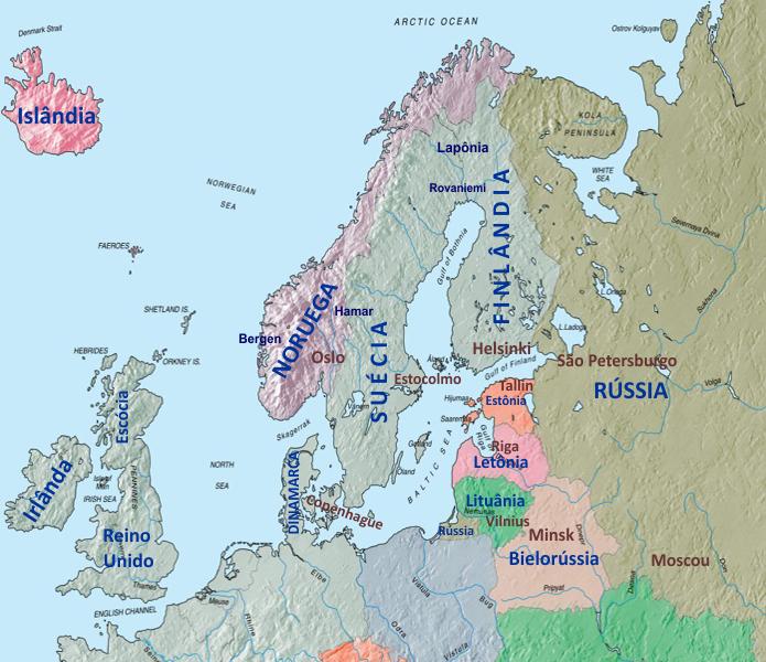 Mapa - Escandinávia e Báltico