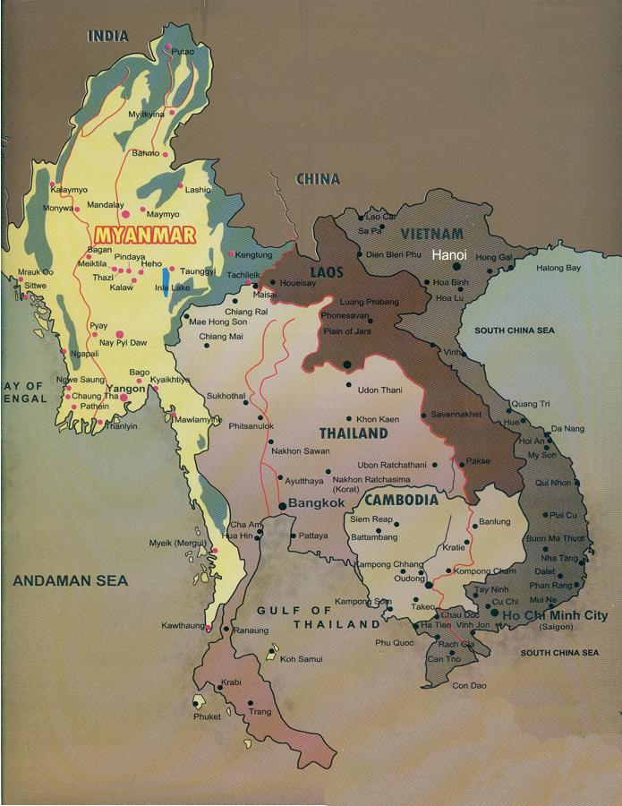 Tailândia Myanmar Vietnã Camboja