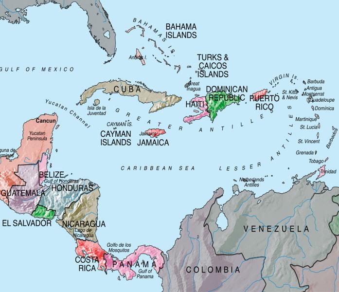 Mapa - América Central e Caribe