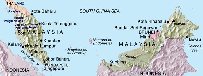 Cingapura Malásia Brunei