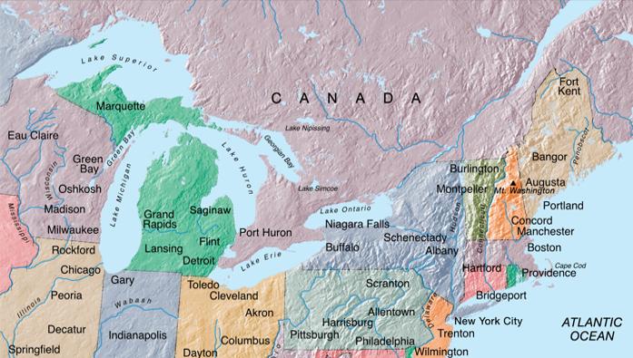Mapa Norte e Leste dos EUA