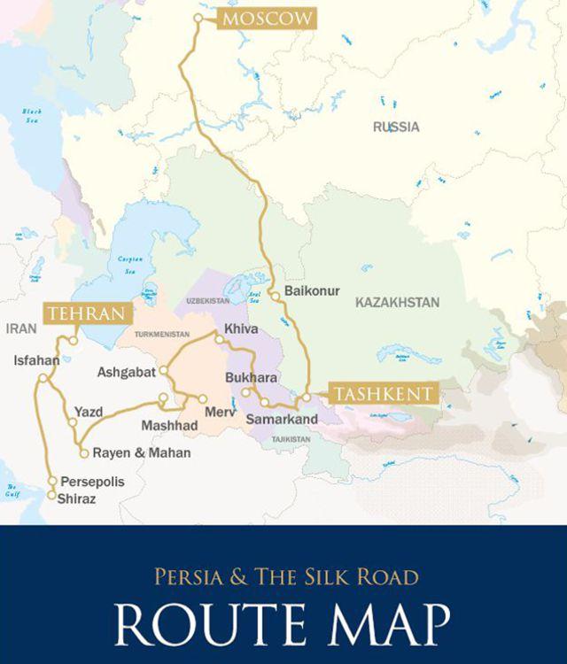 Mapa - Irã - Ásia Central - Rússia